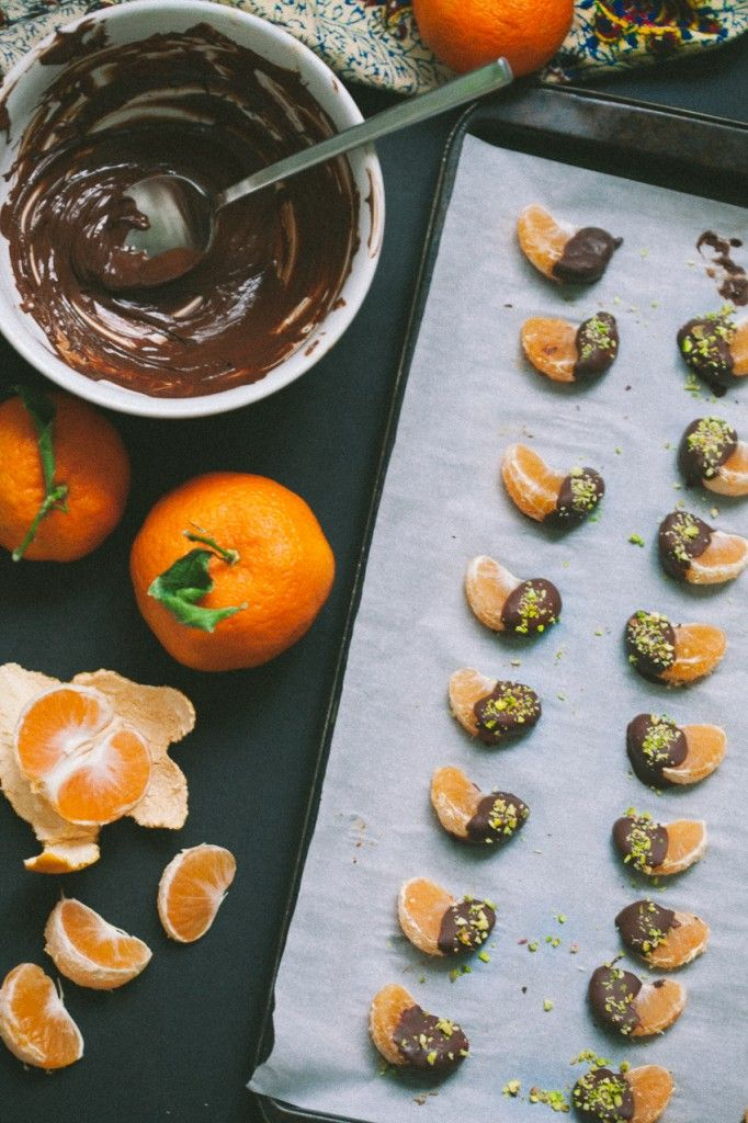 Chocolate Dipped Clementines with Pistachios