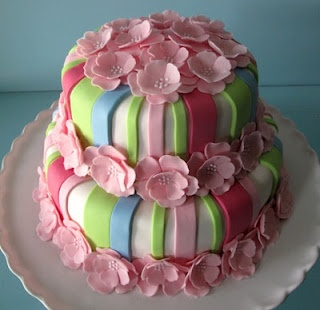 Flowers and stripes cake   CAKES I LOVE   Pinterest   Cake, Cupcakes and Amazing cakes