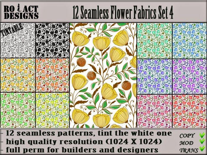 Ro!Act Designs 12 Seamless Flower Fabrics Set 4