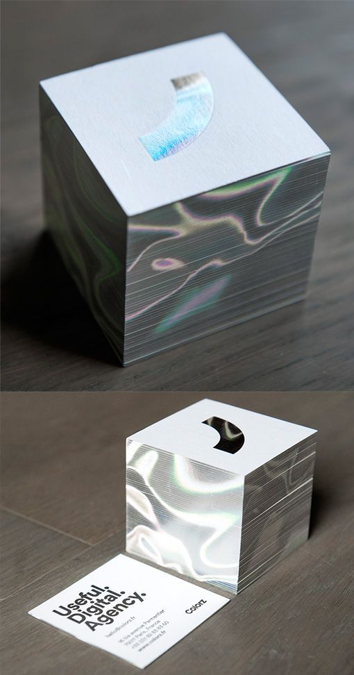 Modern Styled Holographic Foil Edge Painted Square Business Card Design