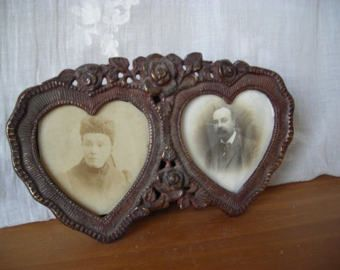 Vintage photo frames in bronze, Double Photo Frame, Romantic Photo Frame
