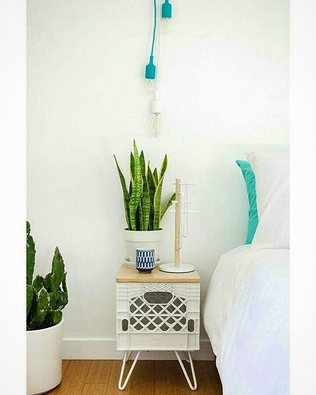 Plastic crate repurposed into a side table.        Gloucestershire Resource Centre http://www.grcltd.org/scrapstore/