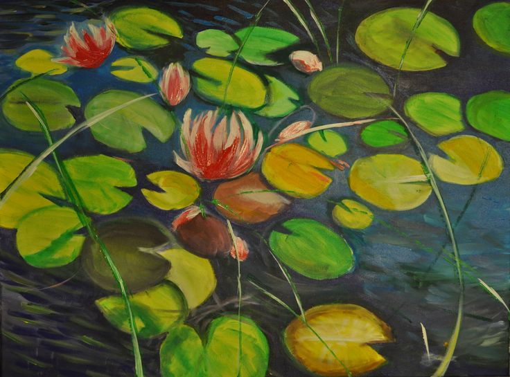 Nenufary,woda....obraz,malarstwo Agata W-B