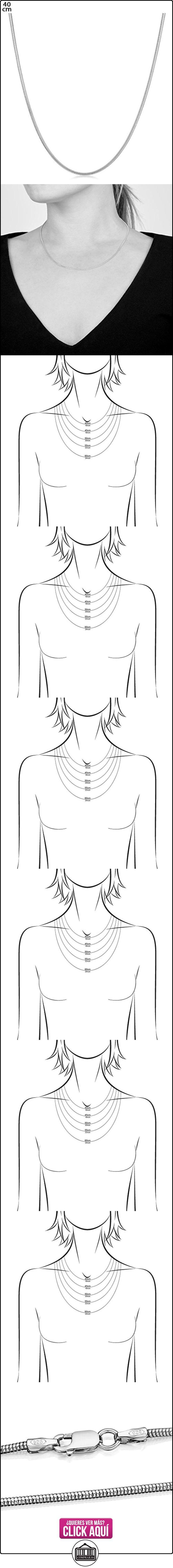 Amberta® Joyería - Collar - Fina Plata De Ley 925 - Cadena de Serpiente - 1.4 mm - 40 45 50 55 60 cm (40cm)  ✿ Joyas para mujer - Las mejores ofertas ✿ ▬► Ver oferta: https://comprar.io/goto/B012EOJ8A2