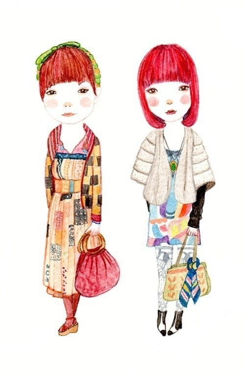 Best Friends - @Shelley Ruiz, its us!  I adore this girls artwork so much!