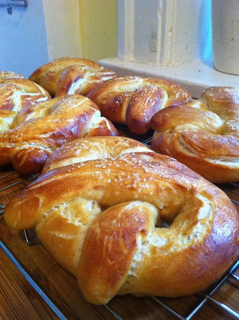 Homemade soft pretzels. Alton Brown recipe!