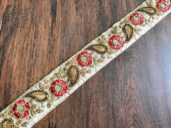 Indian Lace Trim By The Yard Embroidered Ribbon Sari Fabric Trim