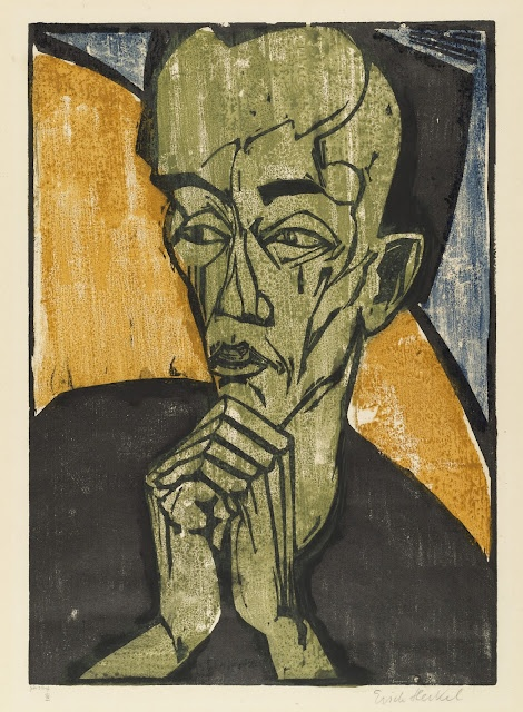 Erich Heckel (German, 1883-1970)   Portrait of a Man   (1919)   Woodcut