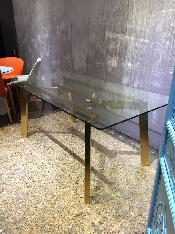 28 39 39 Rectangular Gold Stainless Steel Table Base Glass