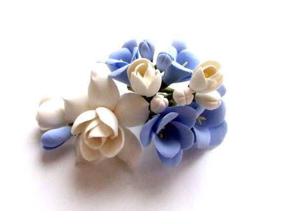 Accessories hair clip clay flowers wedding by ClayWeddingBouquet, $30.00
