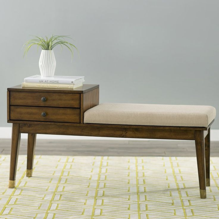 This Mid Century Modern Storage Bench Will Perfectly Complete Your Space.  Between The Plush