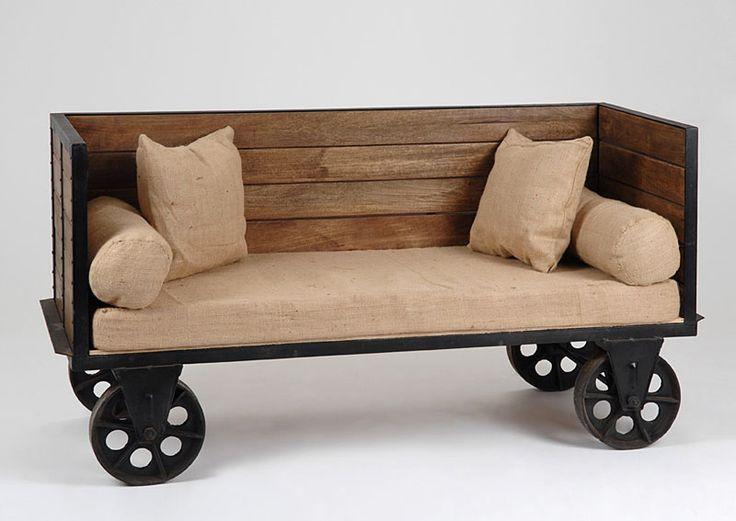 Muebles Portobellostreet.es: Banqueta y Cojin Vintage Roulotte - Bancos Vintage - Muebles de Estilo Vintage