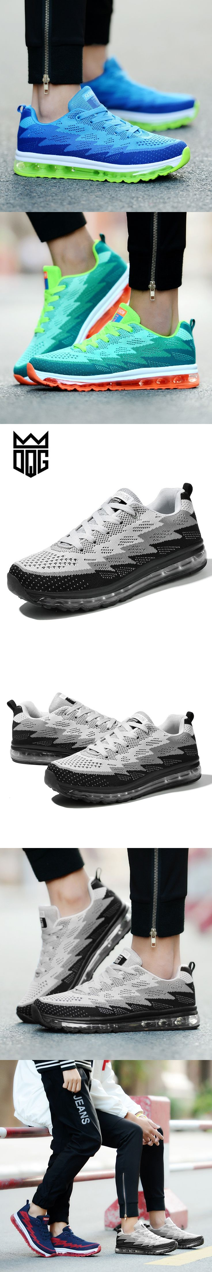 DQG Men Women Air Running Shoes Fly Weave Breathable Soft Trend Outdoor Men's Running Shoes For Women Male Sport Snekers