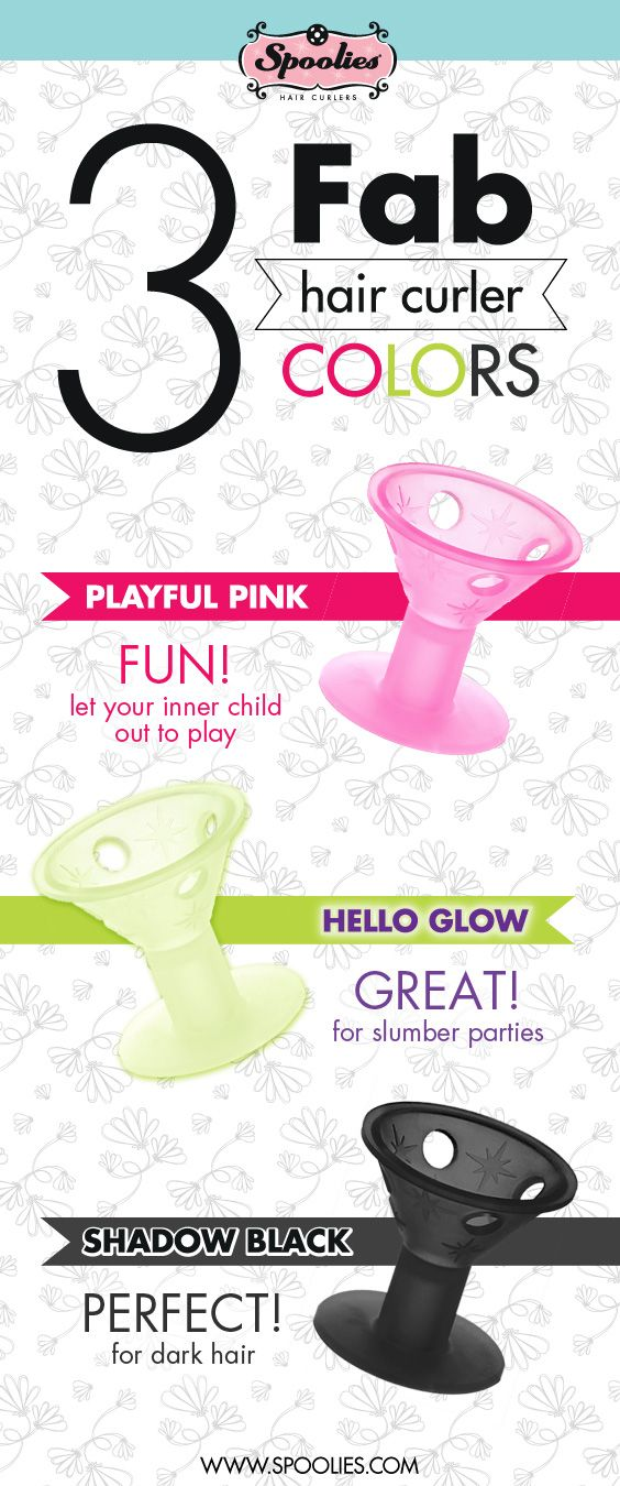 3 fab hair Curler Colors   Ditch that curling iron / wand, Spoolies now offers its easy, no pins, no clips & no heat curlers in 3 cute, stylish and popular colors: Playful Pink, Hello Glow (glow in the dark) and Shadow Black.