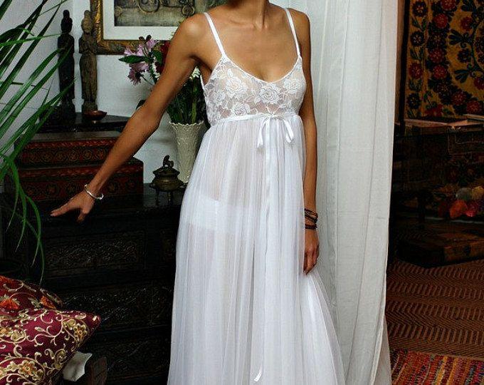 Blanco encajes y camisón de Nylon Camille inocencia camisón lencería nupcial boda ropa de dormir ropa interior