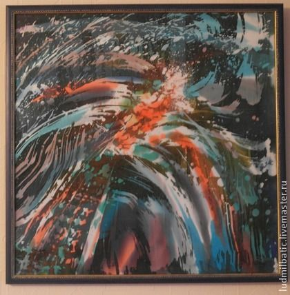 Птица удачи. Картина 'Птица удачи' выполнена на натуральном шелке в технике горячий батик.  Размер картины 45х45. Особенностью картины являются яркие, броские, эффектные цвета.   В указанную стоимость входит багет.