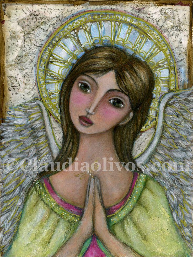 Spiritual Art - Angel Art - inspirational Art - Angel Gabriel - Angel Gabrielle - Guardian Angel - Praying Angel - Angel Prayer - Angel by OlivosARTstudio on Etsy