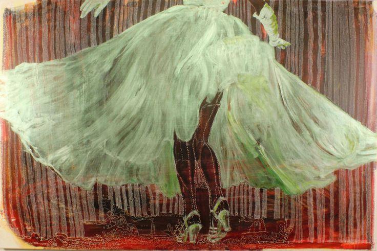 Marli Turion, Dance, 2014 acryl / pigmentliner / oil  on canvas 120 x 180 cm