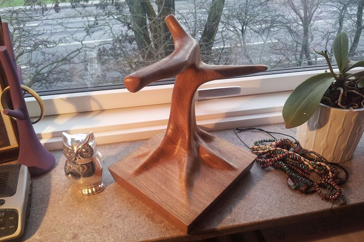 Woodwork. A handmade sitting tree for my pet owl. It is carved from oak wood and polished with wax.