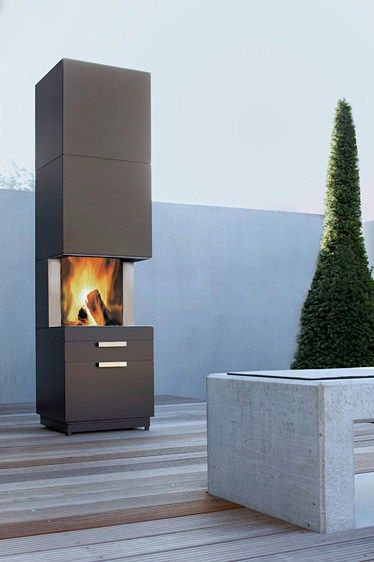 Garden Fireplace Design - new fireplace with storage Nero by Conmoto