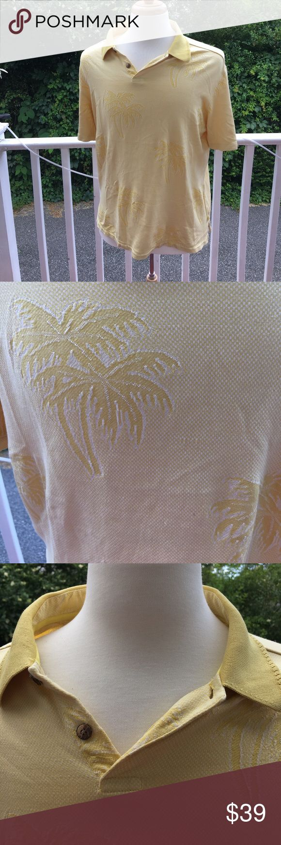 TONY BAHAMA SILK COTTON SOFT YELLOW POLO SHIRT BEAUTIFUL YELLOW PALM TREES SUBTLY ADORN THIS POLO SHIRT. MACHINE WASHAble Tommy Bahama Shirts Polos