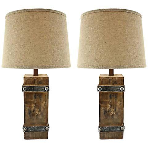 Brockton II Distressed Brown Wood Table Lamp Set Of 2