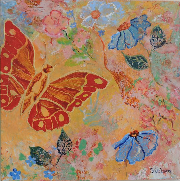 """""""This is an expression of my joy when I think of spring and summer.  I choose colors to evoke happy thoughts.  Done in acrylics on rice paper.""""  Maria Sieben"""