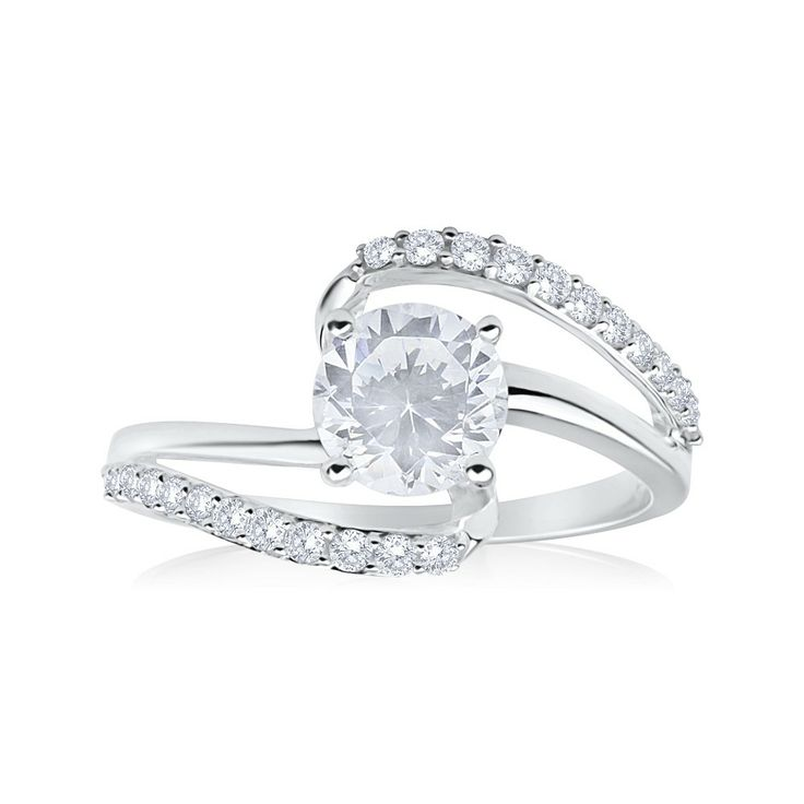 Fancy Swirl Cubic Zirconia Sterling Silver Ring ($29.95) from Shiels.com.au