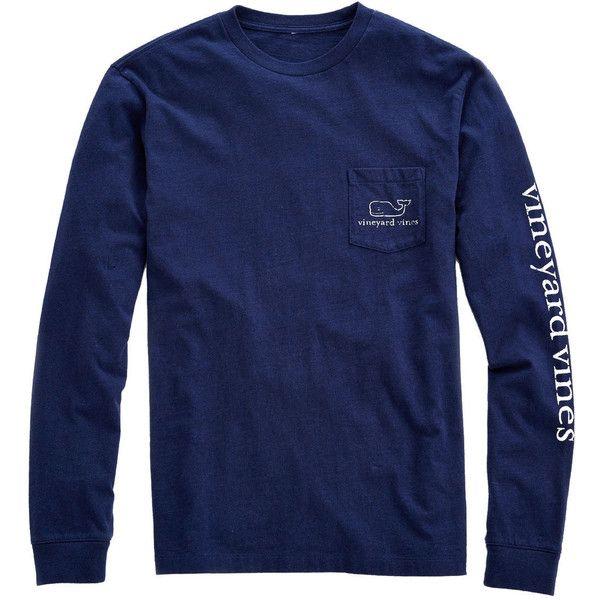 Shop Long-Sleeve Vintage Whale Heater Pocket T-Shirt at vineyard vines ($48) ❤ liked on Polyvore featuring tops, t-shirts, long sleeve shirts, tops/outerwear, long sleeve pocket t shirts, pocket tees, vineyard vines t shirt, blue t shirt and cotton t shirts