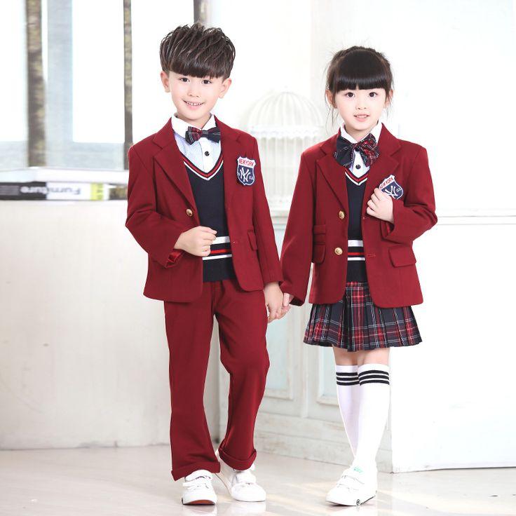 New Autumn Children's fashion casual plaid suit jacket British school children custom school uniforms sets vest Jackets pants