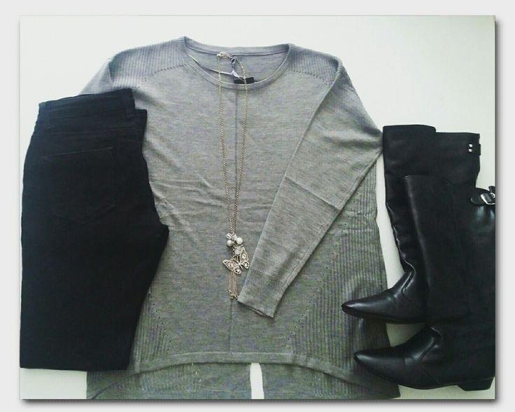 Grey oversized sweater, black jeans, black boots, butterfly necklace   #ootd #fashion #whatiwore #fashionidea #winterfashion #followmystyle #dailyfashion #dailyoutfitinspiration