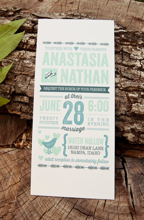 casual evening wedding invitation wording%0A Wedding Invitation Rustic Vintage    Letterpress Inspired    Mint  Green  and Navy    Love Birds