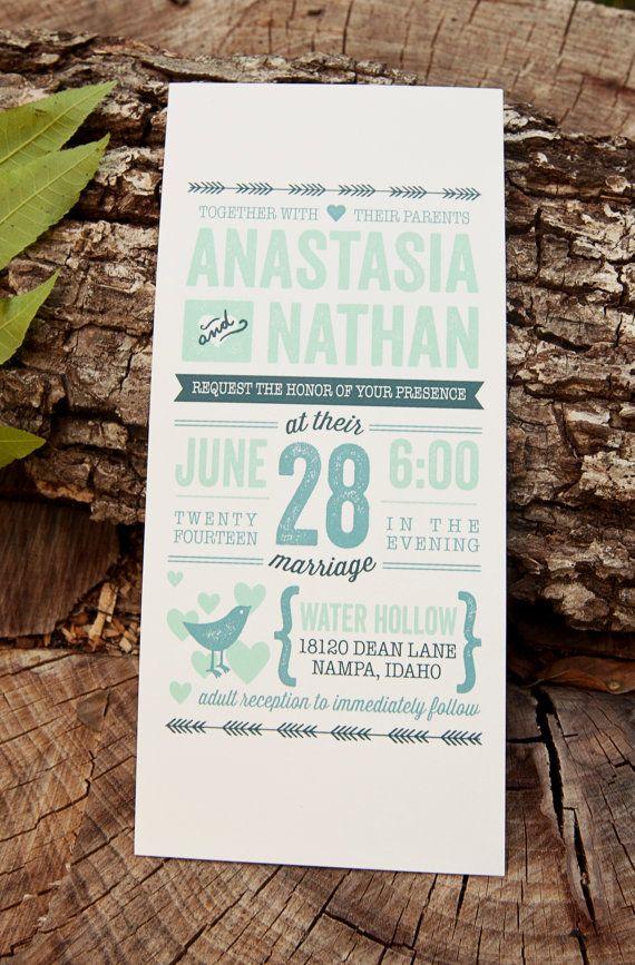 Wedding Invitation Rustic Vintage // Letterpress by DesignsbyXO, $2.00