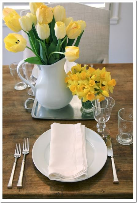 And this is just such a great table setting. Love the reclaimed wood table with the every day basic, but elegant, silverware and glasses. So beautiful!