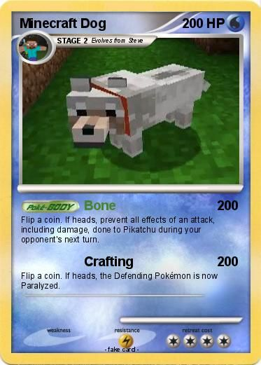Minecraft Pokemon Cards | Pokemon Minecraft Dog