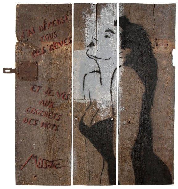 """MISS.TIC """" J'ai dépensé tous mes rêves et je vis aux crochets des mots"""", avant 1992 Pochoir sur palissade.89 x 100 cm"""