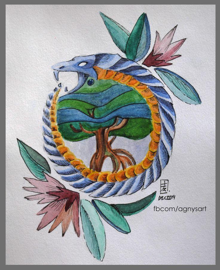 Uroboro #Symbol #Snake #Nature #Tree #Watercolor #Painting #Drawing