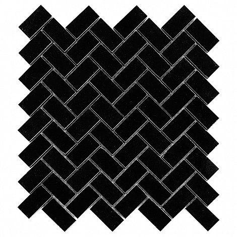 Pure Black HERRINGBONE 48 - DUNIN. czarna mozaika, chevron, jodełka, geometryczna mozaika, black mosaic, geometric,