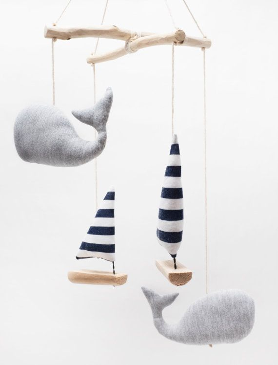 Nautical Sailboat & Whales mobile baby gift sailboat baby