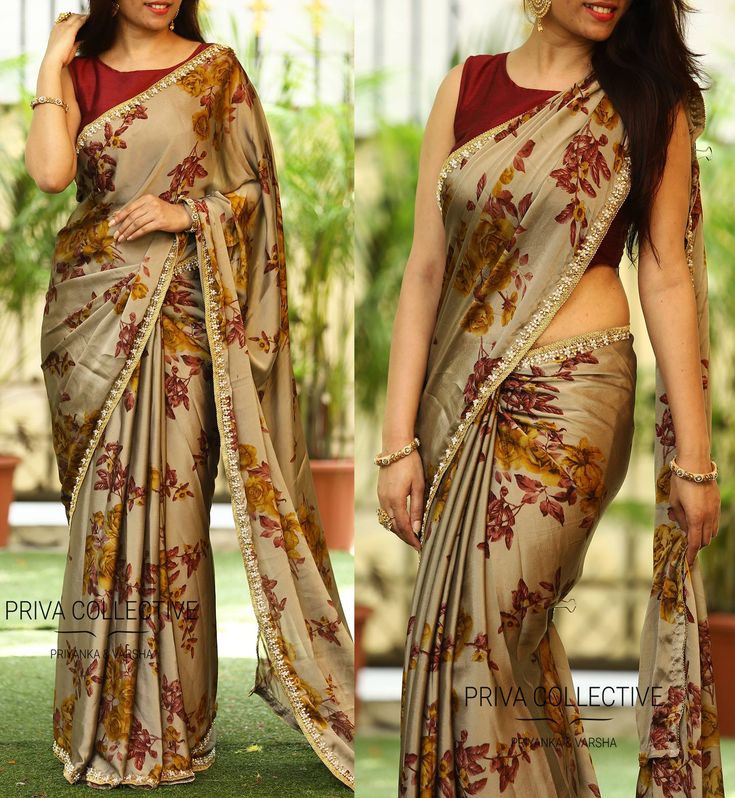 PV 3527 : Brown FloralPrice : Rs 3400Look fancy and fantastic in this brown coloured floral sari finished with cut work pearl borderUnstitched blouse piece - Wine colour raw silk blouse piece as shown in the pictureFor Order 12 October 2017