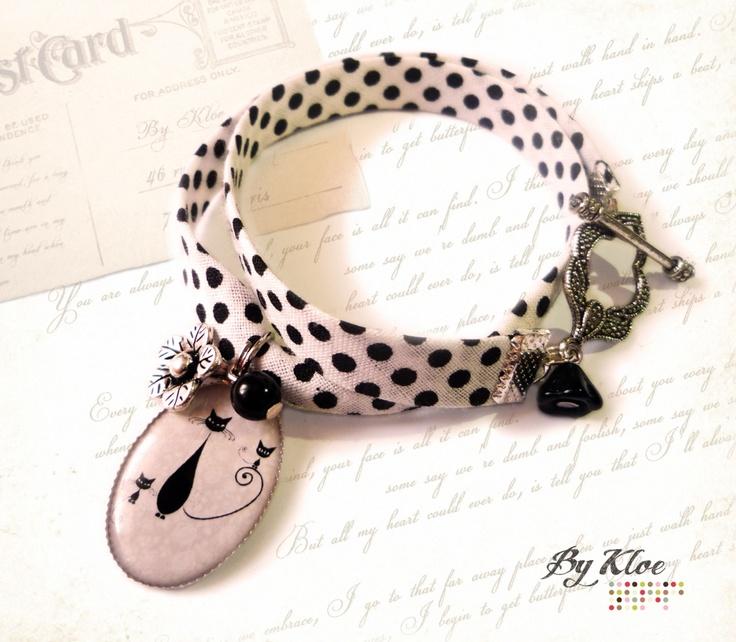 Bracelet liberty Cabochon • Family cat • fleurs pois