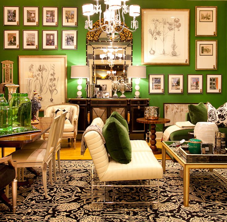 We are LOVING all of this gorgeous #customframed #art set against this fantastic Kelly Green wall!
