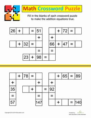 Addition Crossword   Early Finishers Packet   Maths, Math ...