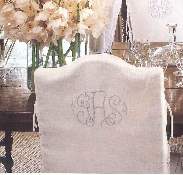 Elegant Chairs With Wonderful Monograms Great Detail Dining Room ChairsDining RoomsSlip Cover