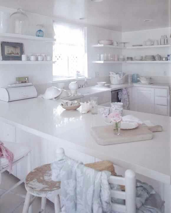 Rachel Ashwell's kitchen love the white quartz counters maybe faux marble is not the way to go .....can't decide
