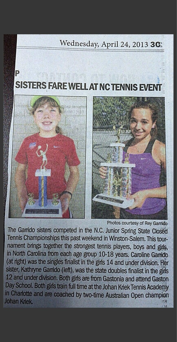 "Nice mention of Kathryne and Caroline Garrido in the ""Gaston Gazette"" today. Again congrats to the Garrido sisters as well as Serena Evans, Jenna Thompson and Halle Futch for great tournament results this past weekend. #johankriektennisacademy #johankriek #grandslamchampion #charlotte #tennis #juniortennis #kriek #tennisacademy #summercamps #tennissummercamps #tennisincharlotte #tennisacademyincharlotte #charlottetennisacademy #sports #charlottesports #nc"