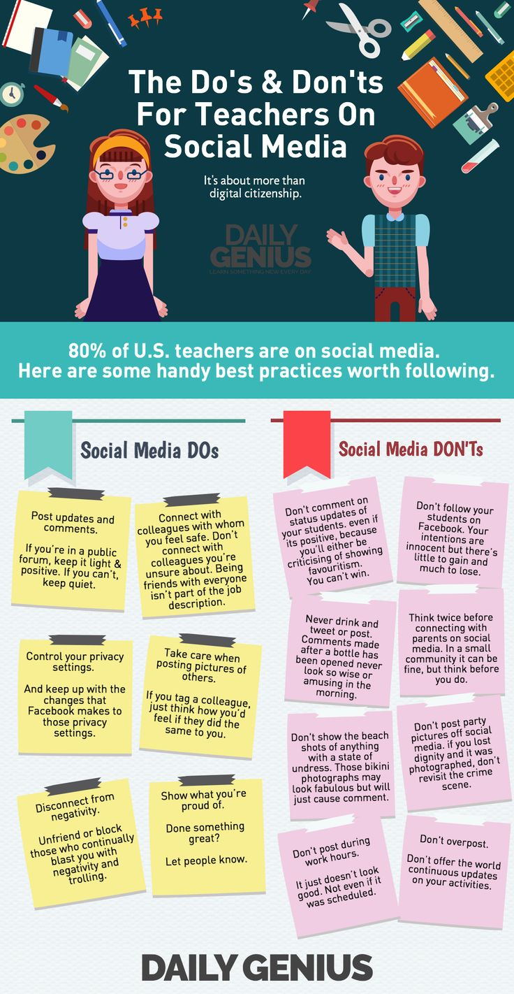 The Do's and Don'ts for Teachers on Social Media Infographic