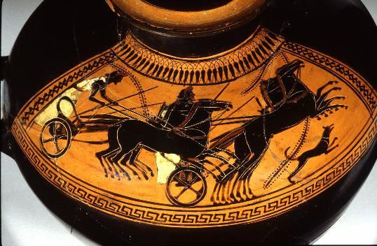 "Ancient Sports: Equestrian Events. Chariot racing. Tampa 86.35. Shoulder: chariot race. Aristophanes, the comic playwright, describes the troubles of a father whose son has too-expensive tastes in horses: ""Creditors are eating me up alive...and all because of this horse-plague!"" (Aristophanes, Clouds l.240ff.)"