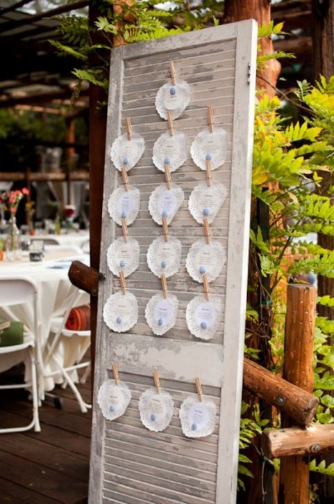 Display your place cards with clothes pins on vintage shutters.