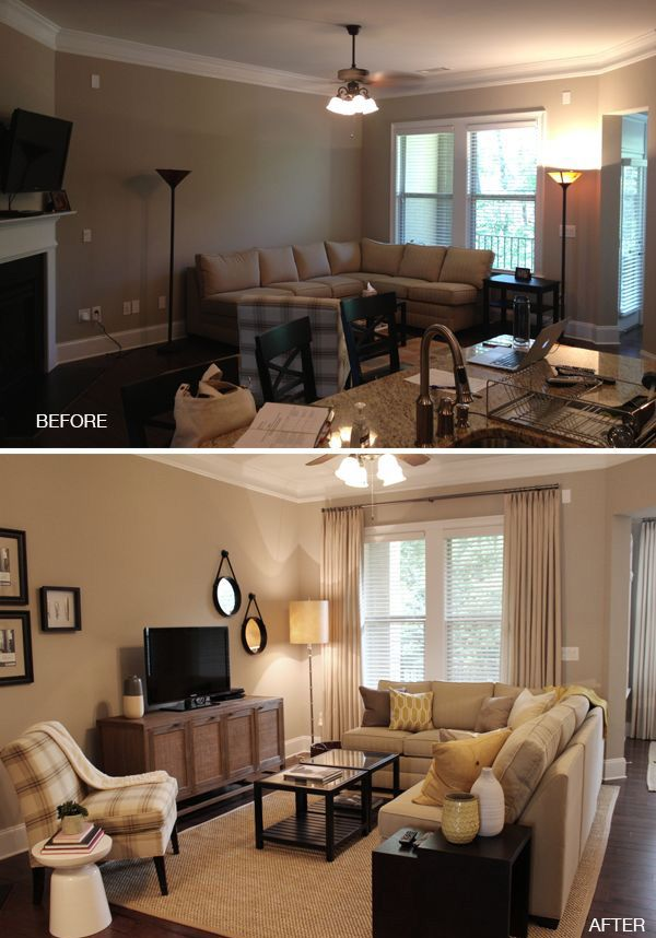 Arranging Furniture In Small Living Room With French Doors Sofas Uk Makeover Love The Wall Hangings New Style More Floor Lighting Window Treatments Tan Decorating Rooms
